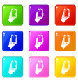 hand photographed on mobile phone icons 9 set vector image vector image