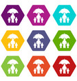 insurance family icons set 9 vector image vector image