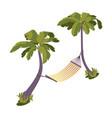 isometric hammock between palm trees near sea vector image