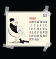 january calendar with fashion girl vector image