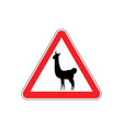 lama warning sign red llama hazard attention vector image vector image