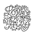 monoline calligraphy phrase love is in the vector image vector image