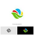 nature cloud logo design concept cloud with leaf vector image vector image