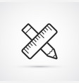pencil and rulerflat line icon eps10 vector image vector image