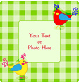 Plaid frame with birdies vector image vector image