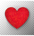 red glitter heart transparent background vector image vector image
