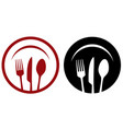 restaurant icons with fork knife plate vector image vector image