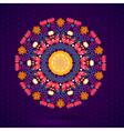 Round oriental pattern on vintage background vector image
