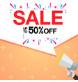 sale up to 50 off speech megaphone image vector image vector image