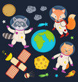 set of animals in space part 1 vector image vector image