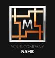 silver letter m logo in silver-golden square maze vector image