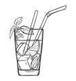 sketch - glass mojito vector image vector image