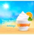 Summer creamy dessert on sunny beach vector image vector image