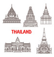 thailand ayutthaya and hua hin landmark icons vector image
