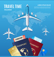 travel time concept with passport and boarding vector image vector image