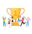 trophy cup concept success business team vector image