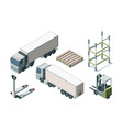 trucks and warehouse equipment isometric vector image vector image