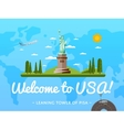 Welcome to USA poster with famous attraction vector image vector image