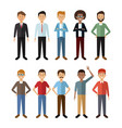 white background with full body group male people vector image vector image