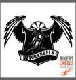 wings and motorcycle - badge or label with biker vector image vector image