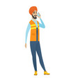 young hindu builder talking on a mobile phone vector image vector image