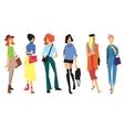 Beautiful young women in fashion clothing vector image