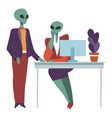 aliens at work talking on working place boss and vector image