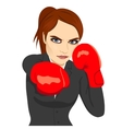 Angry business woman boxing punching vector image vector image