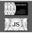 Business card template black and white vintage vector image