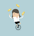 businesswoman juggling coin while cycling vector image