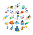 calling icons set isometric style vector image vector image