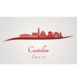 Castellon skyline in red vector image vector image