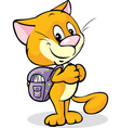 cat with school bag standing isolated on white vector image vector image