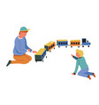 children play with toy train boys playing game vector image