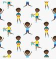 cute boy cartoon style seamless pattern vector image vector image