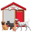 dog cage with dog group cartoon isolated vector image