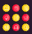 education learning linear icons badges vector image vector image