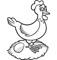 farm hen cartoon for coloring book vector image vector image