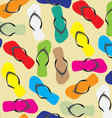 Flip flops seamless pattern color background vector image