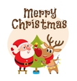 Funny Santa Claus and reindeer decorating vector image vector image