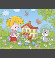 girl playing with a doll and a toy house vector image vector image