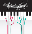 Hands on Piano Keyboard with Notes and Staff vector image vector image