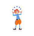 happy clown juggling with balls in circus show vector image vector image