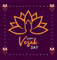happy vesak day card lotus flower and buddha vector image vector image
