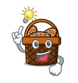have an idea bread basket mascot cartoon vector image