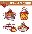 italian food collection best traditional vector image vector image