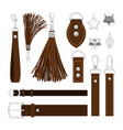 leather tassels isolated on white vector image vector image