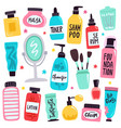 makeup tools skincare routine cosmetic products vector image vector image