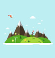 man with flag on island helicopter on sky flat vector image vector image