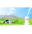 milk glass on milk splash beautiful nature vector image vector image